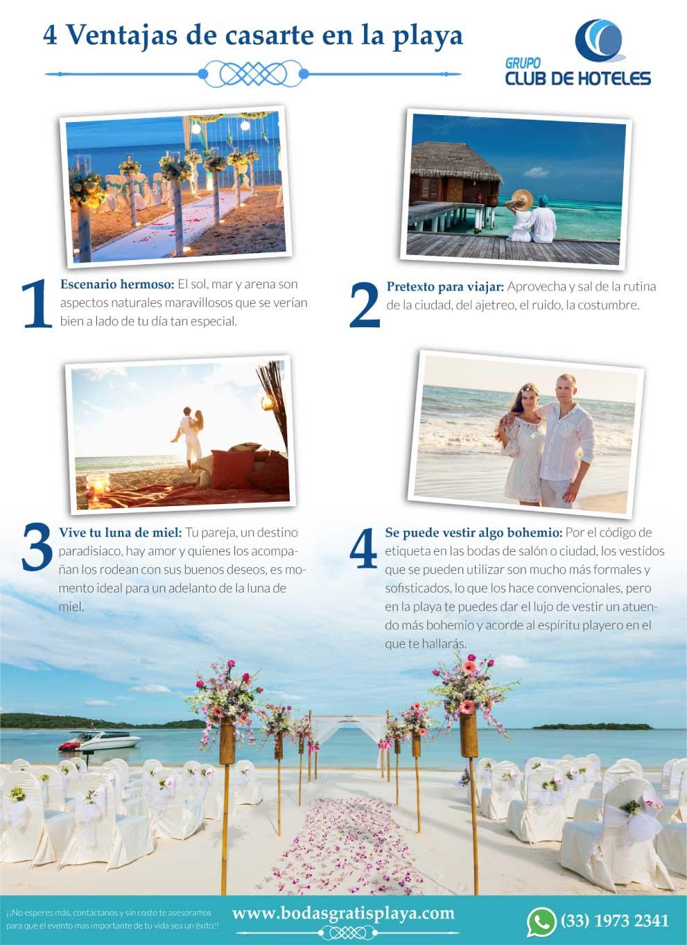 ventajas de casarse en la playa
